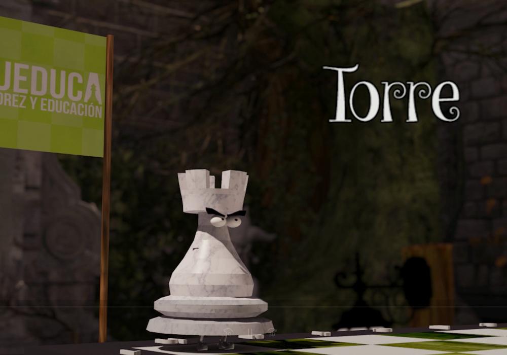 Vídeo para aprender a mover a la Torre, una forma divertida de aprender a jugar al AJEDREZ. AJEDUCA.