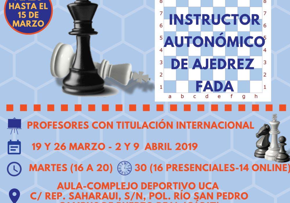 AJEDUCA,  realizará un curso Oficial de Instructor de la Federación Andaluza de Ajedrez, en colaboración con la Universidad de Cádiz.